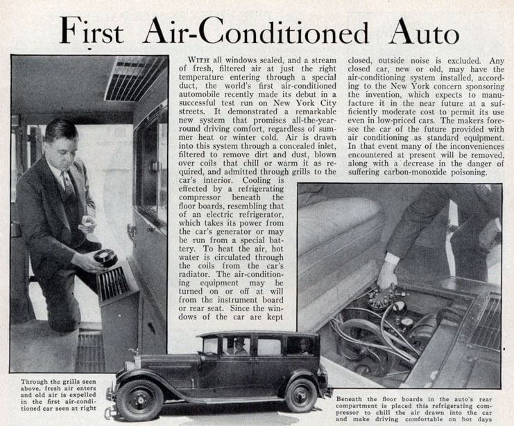 first air conditioner in a car